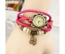 Dekoratív női bőrszíjas karóra karkötővel pink színben - Egyedi és stílusos!