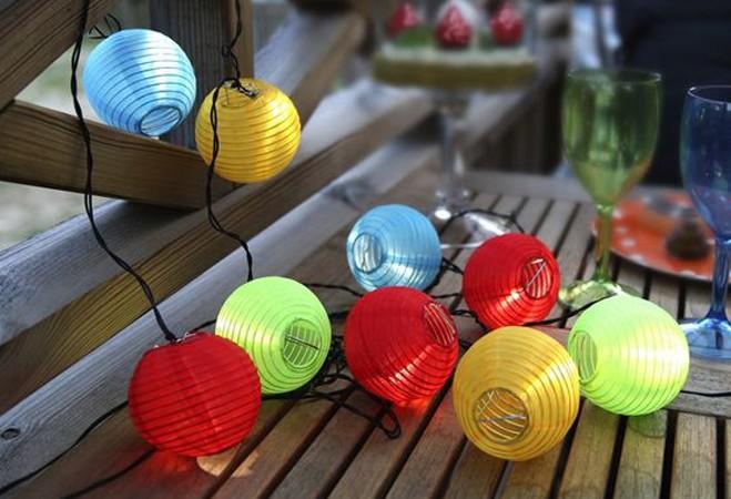 Napelemes LED lampionok 10 lampion egy füzéren!