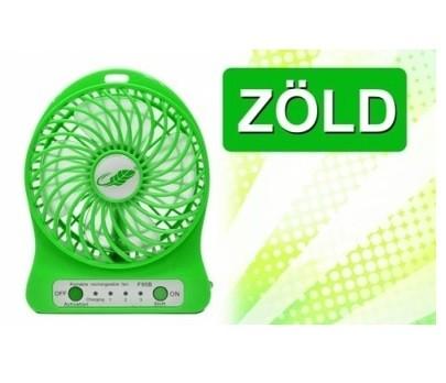 Hordozható akkumulátoros ventilátor zöld színben - Hűtsd le magad bárhol!