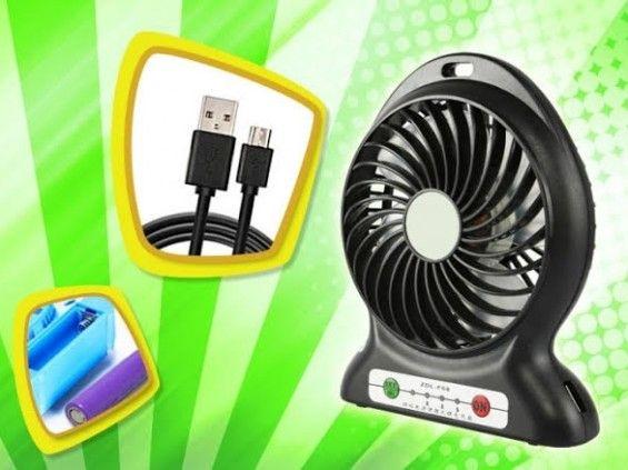 Hordozható akkumulátoros ventilátor fekete színben - Hűtsd le magad bárhol!