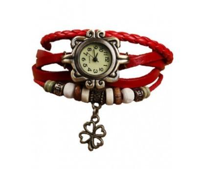Dekoratív női bőrszíjas karóra karkötővel piros színben - Egyedi és stílusos!