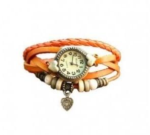 Dekoratív női bőrszíjas karóra karkötővel narancs színben - Egyedi és stílusos!