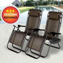 2 db Zéró gravitációs Kerti szék Ajándék pohártartóval - Dönthető háttámla+lábtámasz+levehető fejtámasz!