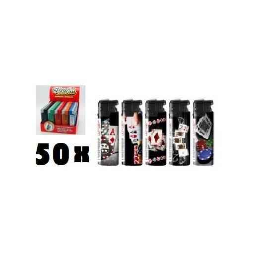 Póker mintás elektromos öngyújtó - 50 db-os kiszerelés!