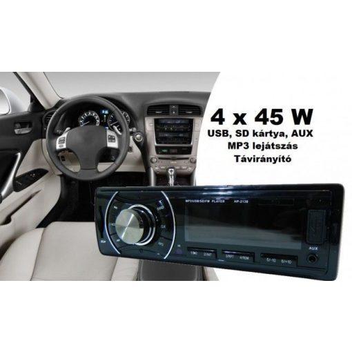 Távvezérlős QUICK MP3 Autóhifi - 4 x 45 W, USB, SD kártya, AUX!