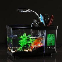Multifunkciós USB Asztali Akvárium - LED lámpával, Tolltartóval, multifunkciós LCD kijelzős órával!