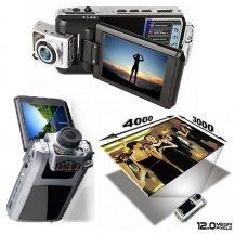 12 MP-es Digitális kompakt HD videokamera - Forgatható optikával és kijelzővel!
