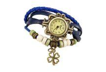 Dekoratív női bőrszíjas karóra karkötővel kék színben - Egyedi és stílusos!