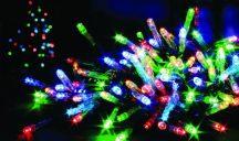 100 LED-es karácsonyi izzósor Multicolor színben - NAPELEMES!