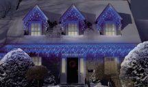 185 LED-es jégcsap karácsonyfa izzó - Kék Színben!