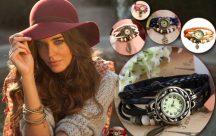 Dekoratív női bőrszíjas karóra karkötővel választható színben - Egyedi és stílusos!