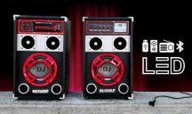 RedSound DJ Akkus Stereo Bluetooth Hangfal Pár - Hangerőre érzékeny LED hangulat fényekkel!