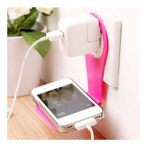 Telefontartó konnektorra - rózsaszín