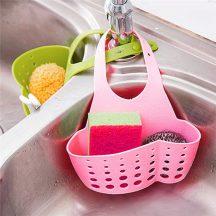 Csapra akasztható többzsebes műanyag tároló - rózsaszín