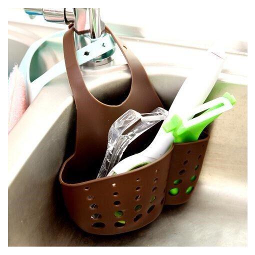 Csapra akasztható többzsebes műanyag tároló - Kávébarna