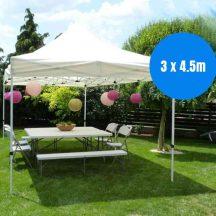 EXTRA NAGY Méretű összecsukható fém szerkezetű Kerti Pavilon - Partykhoz, összejövetelekhez, kempinkezéshez, kertbe, nyaralóba!