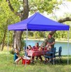 KIÁRUSÍTÁS! Összecsukható fém szerkezetű kerti pavilon Kék - Partykhoz, összejövetelekhez, kertbe, nyaralóba, kempinkezéshez!