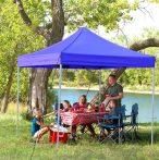 Összecsukható fém szerkezetű kerti pavilon Kék - Partykhoz, összejövetelekhez, kertbe, nyaralóba, kempinkezéshez!