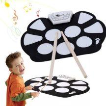 Roll-Up elektromos gyerek dobfelszerelés - 12 demo dal és 7 egyedi hangstílus!