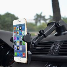 Állítható autós biztonsági telefontartó a biztonságos vezetésért - Szélvédőre, vagy műszerfalra is felszerelhető!