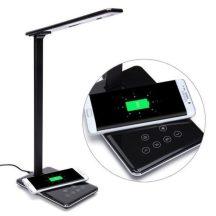 Asztali Álló LED Lámpa - Qi Vezeték nélküli mobiltöltővel!