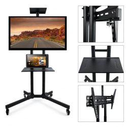 Masszív Fém, Gurulós Prezentációs Mobil állvány - 360 fokban forgó, fékezhető kerekek, laptop, projektor, TV tartó!