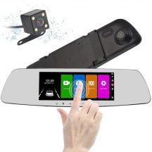 Tolató és Menetrögzítő Autós kamera egyben - ÉRINTŐ Képernyős, FULL HD, Visszapillantó tükörbe épített!