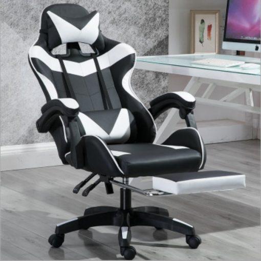 Gamer szék Lábtartóval Racing Pro X, Fehér-Fekete - Prémium kategóriás, állítható lábtámaszos!