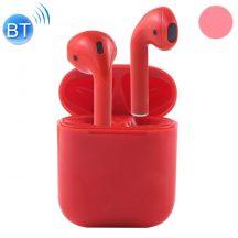 I7S páros bluetooth headset töltő tokkal -piros-