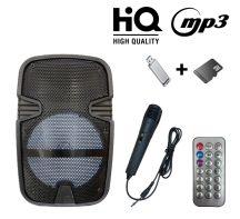 AlphaOne Hordozható akkus Bluetooth hangfal, beépített LED hangulatfény - Ajándék vezeték nélküli mikrofonnal +távirányítóval!